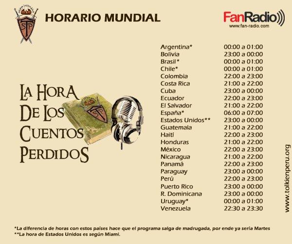 Horario internacional de La Hora de los Cuentos Perdidos